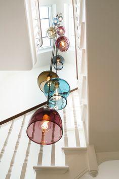 Bespoke Cluster Stairwell Chandelier Curiosa & Curiosa (With images) Stairwell Chandelier, Stairway Lighting, Hall Lighting, Modern Chandelier, Chandeliers, Chandelier Lighting, Lighting Design, Kitchen Lighting, Ceiling Lamp