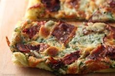 Puff Pastry Pizza with Applewood Smoked Bacon, Oven-Dried Tomatoes, Walnut-Basil Pesto and Blue Cheese