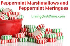 Are you having nightmares about what to do with those 101 leftover candy canes you get at Christmas? Here is a great recipe to use them in. It's a little different, but you'll like it! Click here to get these yummy recipes! http://www.livingonadime.com/peppermint-marshmallows-meringues/