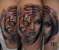 Tiger-women face tattoo