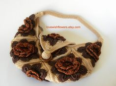 Brown beige flower crochet hand bag crochet by lovewishflowers