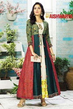 Picture of Enticing multicolor partywear long kurti Kurti Patterns, Dress Patterns, Kurta Designs, Blouse Designs, Ethnic Fashion, Indian Fashion, Indian Dresses, Indian Outfits, Stylish Dresses