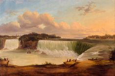 """""""Niagara Falls From the Canadian Side,""""Victor de Grailly, oil, 19 x 28 White House Historical Association. Exposure Time, Natural Wonders, American Artists, Niagara Falls, Oil, Landscape, Nature, Artwork, Naturaleza"""