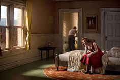 """""""Pink Bedroom (Daydream)"""" by Richard Tuschman, part of a series of photos inspired by the paintings of Edward Hopper Photography Edward Hopper Obras, Edward Hopper Paintings, Edouard Hopper, Gregory Crewdson, Inspiration Artistique, Toulouse, Portrait Studio, Foto Art, Color Photography"""