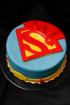SUPERMAN! My first comic book cake - chocolate cake with chocolate buttercream, covered in marshmallow fondant.