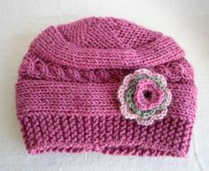 Baby Girl Hats - Baby Girl Knit Hat - Knit Newborn Hat - Baby Hat with flowers-Baby Winter Hat. $16.90, via Etsy.