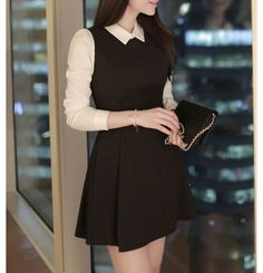 3/4-Sleeve Mock Two-Piece Collared Dress - Fashion Street | YESSTYLE