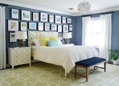Same master bedroom, painted and redone. Like the paint color and room overall. The current house belonging to the couple of Young House Love. Bedroom Photos, Home Bedroom, Bedroom Decor, Bedroom Ideas, Bedroom Colors, Bedroom Wall, Bedroom Furniture, Young House Love, Gallery Wall Frames