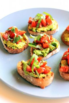 smashed avocado + tomato basil bruschetta