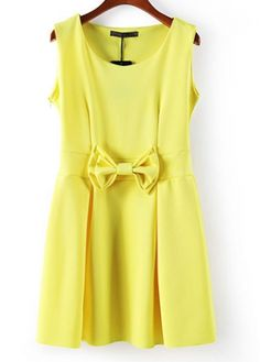 This is Yellow Round Neck Sleeveless A Line Dress with Bow . Retailings.com is a top quality web store which deals in rich and exciting products that are finely selected by experienced individuals, brought under one roof.