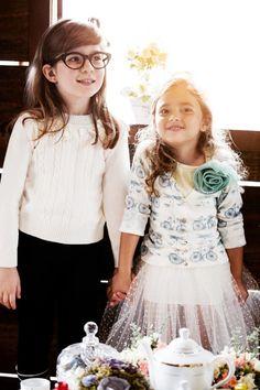 Blusa Princess e Cardigan Chá da Tarde - Mini Lady | Tricô Infantil Monte Sião