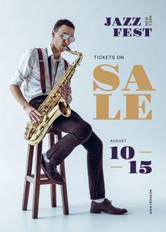 Jazz Festival Musician Playing Saxophone — Create a Design Jazz Saxophone, Edit Online, Jazz Festival, Orchestra, Ecommerce, Template, Animal, Studio, Create