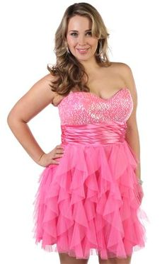 plus size strapless sequin party dress with cascade ruffled skirt! Wish I had somewhere to wear this