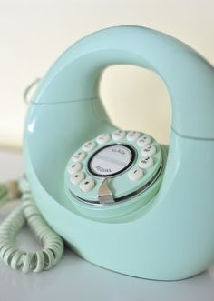 Vintage Sea Foam Green Touch Tone Donut Phone by TheWildPlum