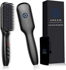 Arkam Beard Straightener for Men, Ionic Beard Straightening Comb with Anti-Scald Feature, Heated Hair Straightener for Men & Women, Portable Beard Brush Straightener Digital Display for Home & Travel Beard Straightening, Beard Brush, Styling Comb, Hair Brush Straightener, Hair Vitamins, Beard Grooming, Healthy Oils, Hair Regrowth, Wet Hair