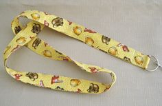 Construction site   handmade fabric lanyard by doodlebugquilts (Accessories, Lanyard, Id, keychain, fabric, handmade, colorful, work boots, construction cone, hard hat, yellow, boy, men)