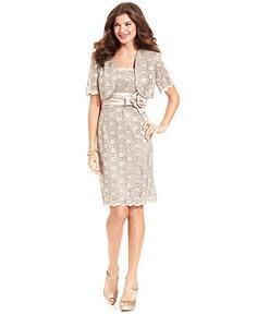 R Richards Dress and Jacket, Sleeveless Sequin Lace Sheath - Womens Wedding Dresses - Macy's