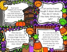 "Halloween Math Scoot 4.OA.A.1, 4.OA.A.2, 4.OA.A.3 ~ My students prefer playing math scoot to completing review worksheets! To play: Place an activity card on each student desk. Have students start at their desk and complete the problem/ record the answer next to that problem's number on the answer sheet. When the teacher signals, students will ""scoot"" or move to the next seat to answer a new problem. Continue until each student has answered all 24 problems. www.thevivaciousteacher.com"