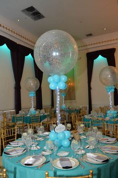 Silver & Tiffany Sparkle Balloon Centerpiece with Custom Cutout Logo & Lights