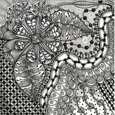 Tangle Doodle, Tangle Art, Doodles Zentangles, Zen Doodle, Doodle Art, Doodle Patterns, Zentangle Patterns, Doodle Designs, Tangled Flower