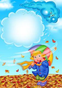 Cartoon Girl Images, Girl Cartoon, Autumn Activities, Toddler Activities, Drawing For Kids, Art For Kids, Fall Clip Art, Boarder Designs, Rain Art