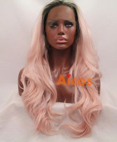 Long baby Wavy Synthetic Lace Front Wig Dark Roots With Pink Heat resistant+Comb…