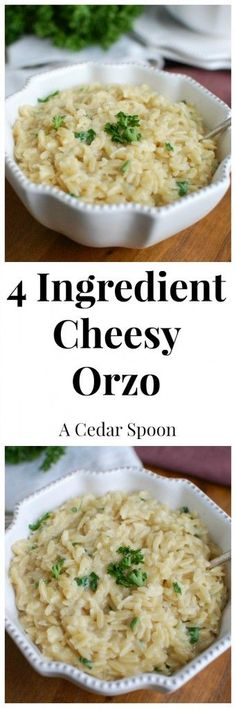 4 Ingredient Cheesy Orzo: the best side dish-cheesy and comforting // A Cedar Spoon