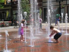 Fun at the Winchester Pedestrian Mall splash pad.