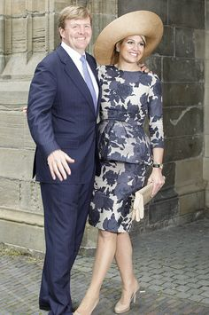 Queen Maxima of the Netherlands and NATAN Grey Dress With Flowers