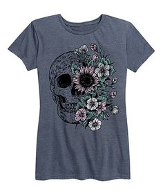 Heather Blue Floral Skull Relaxed-Fit Tee #zulily #zulilyfinds