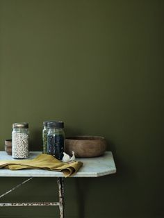 Fired Earth Paint in Wild Olive Kitchen Olive Green Kitchen, Green Kitchen Walls, Kitchen Rug, Olive Green Paints, Olive Green Walls, Olive Green Bedrooms, Bedroom Green, Green Painted Walls, Indoor Paint