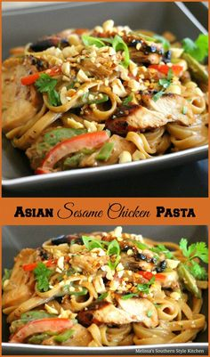 This peanutty Asian Sesame Chicken Pasta dish is a terrific twist on a homestyle pasta dish with Asian flair. It's like making homemade takeout. Chicken Pasta Dishes, Chicken Recipes, Chicken Noodles, Asian Recipes, Asian Foods, Chinese Recipes, Chinese Food, Easy Recipes, Thai Recipes
