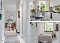 The hallway takes you to the bathroom (to the left), kitchen (to the right) and bedroom (wall to wall with the kithcen)...