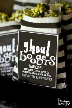 Ghoul Boogers make such a terrific treat for Halloween. Green caramel corn is quite the tasty treat and looks just like ghoul boogers. Free Ghoul Boogersprintables