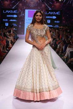 TDB Picks White and blush pink lehenga Anushree Reddy at Lakme Fashion Week Summer Resort 2015