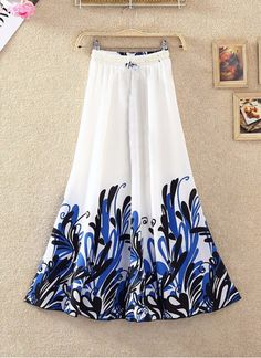 Shop Fabliva White & Blue Printed Faux Georgette Skirt by Fabliva online. Largest collection of Latest Skirts online. Elastic Waist Skirt, High Waisted Skirt, Fancy Skirts, Maxi Skirt Style, Trendy Fall Outfits, Ethnic Wear Designer, One Piece Dress, Printed Skirts, Designer Skirts
