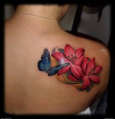 Tattoos Cool Lotus Flower And Butterfly Tattoo Butterfly Tattoo - Tattoo - Tropical Flower Tattoos, Butterfly With Flowers Tattoo, Butterfly Tattoo Cover Up, Lily Flower Tattoos, Butterfly Tattoo On Shoulder, Hibiscus Tattoo, Flower Tattoo Foot, Butterfly Tattoo Designs, Shoulder Tattoos