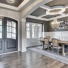 """inspiration for dining room """"Beautiful architectural details by Gonyea Homes """" Home Ceiling, Ceiling Decor, Ceiling Ideas, Interior Columns, Interior Design, Entry Way Design, Dining Lighting, Up House, Dining Room Design"""