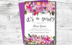 Baby Shower Invitation It's a Girl Pink Purple Flowers Watercolor Floral Digital Printable #etsy #babyshower #digitalinvite #itsagirl #babygirlshower