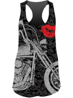 """Women's """"Motorcycle Lips"""" Sublimation Tank by Lethal Angel (Black) - 1"""