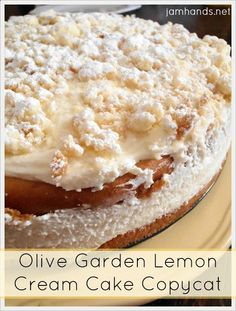 Olive Garden Lemon Cream Cake Copycat - - Today we are continuing to catch up with our Easter recipes. We tried out a copycat recipe for the Olive Garden Lemon Cream Cake. The verdict was it…. Lemon Curd Dessert, Lemon Desserts, Lemon Recipes, Köstliche Desserts, Sweet Recipes, Delicious Desserts, Cake Recipes, Dessert Recipes, Lemon Cakes