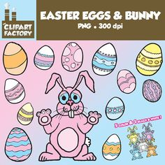 Clip Art Easter Bunny and Easter Eggs  Fun by TheClipartFactory, $3.00