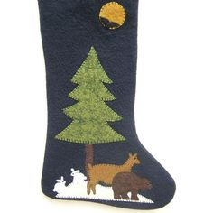 Unique Wool Felt Stocking, Outdoor Themed with Rabbits Bear and Deer,... ($85) ❤ liked on Polyvore featuring home, home decor, holiday decorations, outside home decor, outdoor holiday decorations, handmade christmas stockings, deer home decor and wildlife home decor