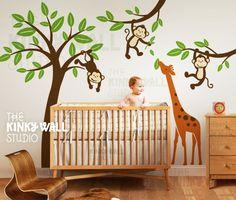 Kids Wall Decal tree wall decal - Monkeys with Giraffe KK127. $149.00, via Etsy.