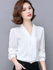 White Blouse Slim Fit Chiffon Blouse for Women