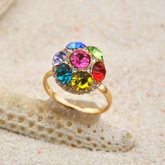 Chic Colored Fully-Jewelled Ball Embellished Alloy Ring For Women #women, #men, #hats, #watches, #belts, #fashion