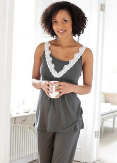 Amoralia - 2 pc Lace Nursing Cami PJ Set. Maternity sleepwear online at Queen Bee