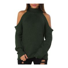 SheIn(sheinside) Army Green High Neck Cold Shoulder Sweater (200 DKK) ❤ liked on Polyvore featuring tops, sweaters, green, green top, turtle neck sweater, green pullover sweater, loose pullover sweater and long sleeve turtleneck
