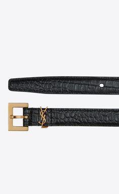 MONOGRAM Narrow belt with square buckle in crocodile embossed leather Luxury Belts, Designer Belts, Ysl, Emboss, Crocodile, Bag Accessories, Winter Fashion, Saint Laurent, Monogram
