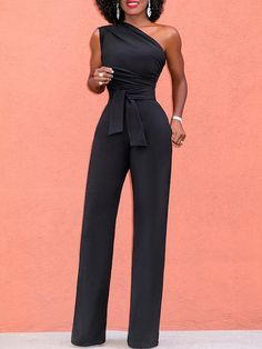 Shop Stylish Skew Neck Tied Jumpsuits – Discover sexy women fashion at IVRose Jumpsuit Outfit, Mode Outfits, Fashion Outfits, Womens Fashion Online, Simple Dresses, Jumpsuits For Women, Runway Fashion, Clothes For Women, Stylish